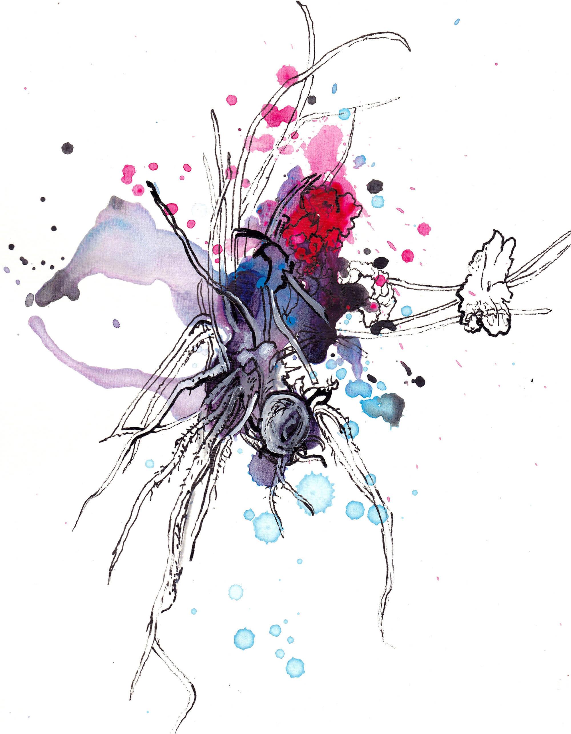 Acryl en inkt op papier