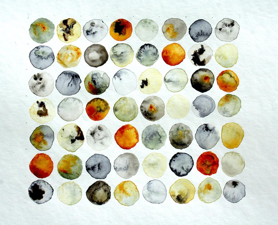 Aquarel, abstracte vormen:    op aanvraag